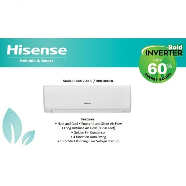 hisense 1 ton 60 percent inverter ac heat and cool hbr1200hc